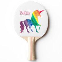 Kids Cool Watercolor Rainbow Unicorn Beautiful Ping Pong Paddle