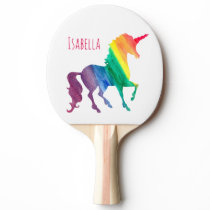 Kids Cool Watercolor Rainbow Unicorn Beautiful Ping Pong Paddle