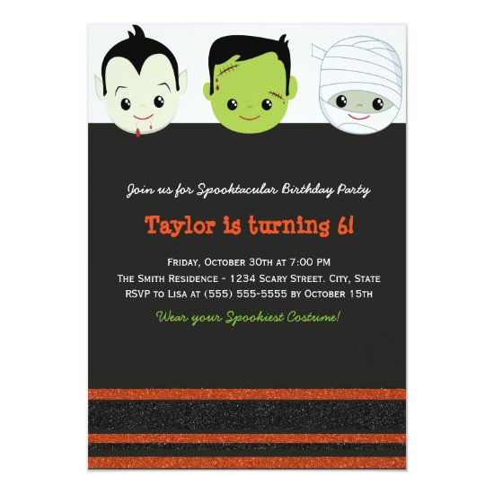Kids costume Halloween Birthday Invitation VI