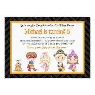Costume party invitations zazzle kids costume halloween birthday party invitation stopboris Images