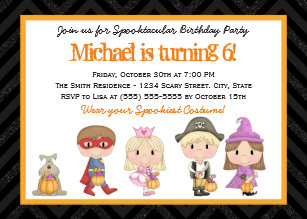 Costume party invitations zazzle kids costume halloween birthday party invitation stopboris Choice Image