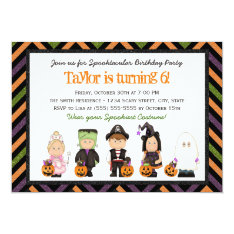 Kids Costume Halloween Birthday Party Invitation I at Zazzle