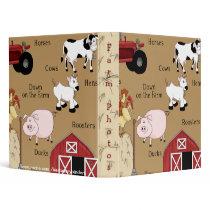 Kids Country Fun Farm Animals Avery Binder