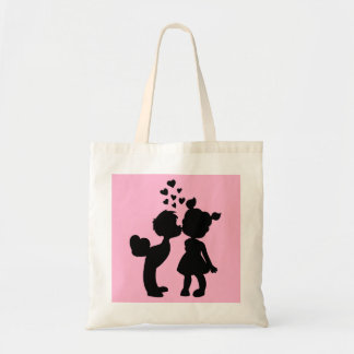 Kids Couple Silhouettes Budget Tote Bags