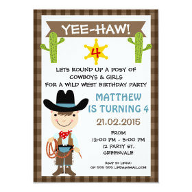 Kids Cowboy Birthday Party Invitation 11 Cm X 16 Cm Invitation Card