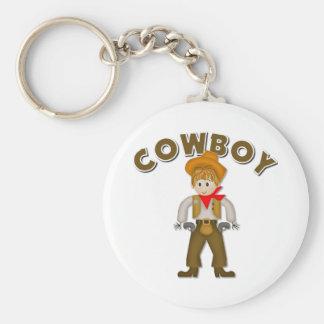 Kids Cowboy Gift Basic Round Button Keychain