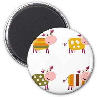 Kids cows art illustration on white magnet