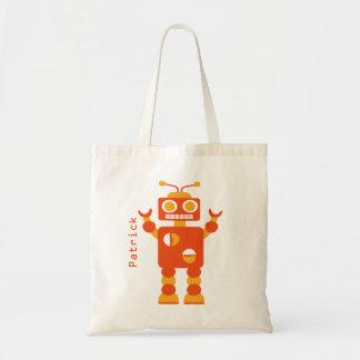 Kids Crazy Orange Robot Personalized Boys Tote Bag