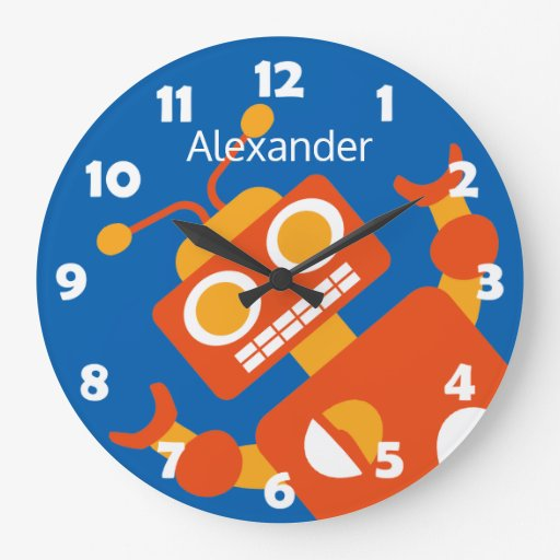Kids Crazy Orange Robot Personalized Cool Blue Large Clock