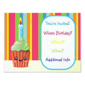 Kids Cupcake Birthday Invitation