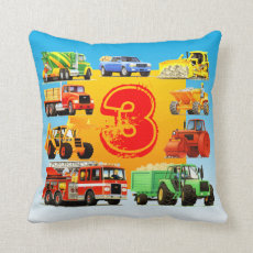 Kid's Custom 3rd Birthday Construction Truck Throw Pillow