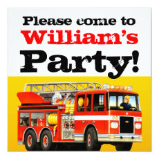 Kid's Custom 3rd Birthday Fire Truck Party Card