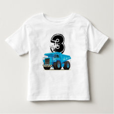 Kid's Custom Age Dumper Truck 3rd Birthday T Shirt