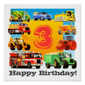 Kids Custom Age Happy Birthday Construction Truck Poster