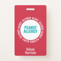 Kids Custom Allergy Alert School Daycare Bag Tag Badge