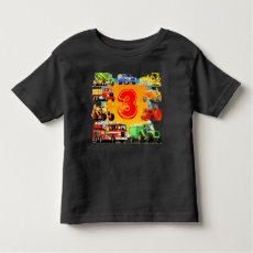 Kids Custom Construction Truck 3rd Birthday Tee Shirt