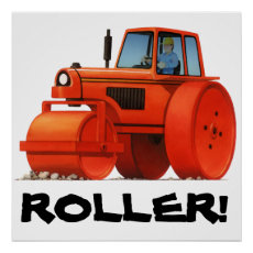 Kids Custom Construction Truck - Red Road Roller Poster