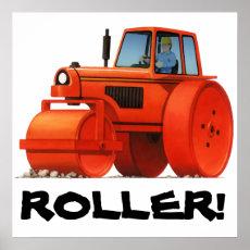 Kids Custom Construction Truck - Red Road Roller Poster
