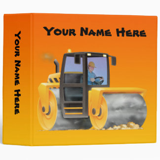 Kid's Custom Construction Truck Road Roller 3 Ring Binder