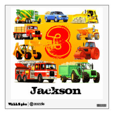 Kid's Custom Construction Trucks 3rd Birthday Wall Sticker