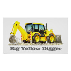 Kid's Custom Construction Trucks - Yellow Digger Poster