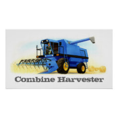 Kid's Custom Farm and Farming - Combine Harvester Poster
