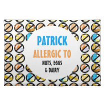 Kids Custom Food Allergy Alert Personalized Placemat