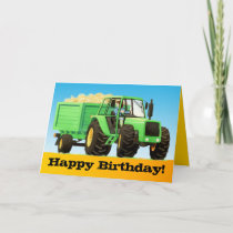 Kid's Custom Green Farm Tractor Happy Birthday Card