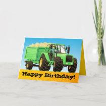 Kid's Custom Green Farm Tractor Happy Birthday Card