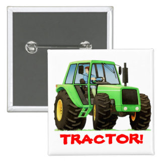 Kids Custom Green Tractor Pinback Button