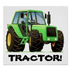 Kids Custom Green Tractor Poster
