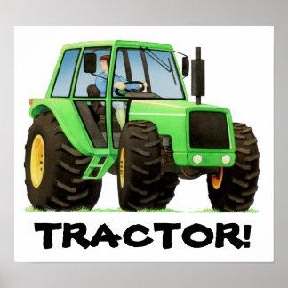 Kids Custom Green Tractor Poster