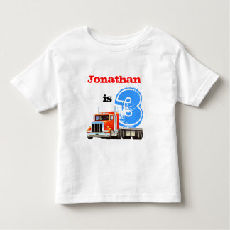 Kids Custom Name and Age Truck 3rd Birthday Toddler T-shirt
