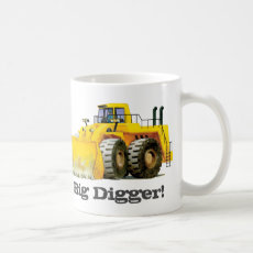 Kids Custom Name Big Digger Construction Truck Coffee Mug