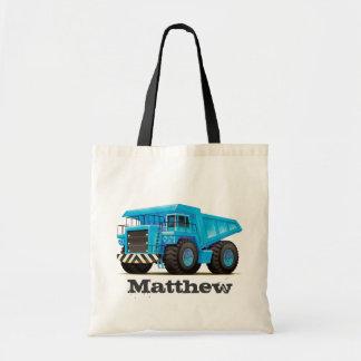 Kids Custom Name Construction Dumper Truck Tote Bag