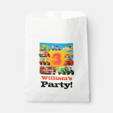 Kids Custom Name Construction Truck Birthday Party Favor Bag