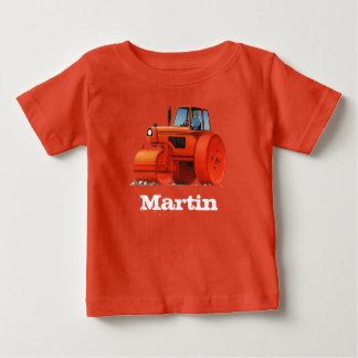 Kids Custom Name Construction Truck - Road Roller Baby T-Shirt