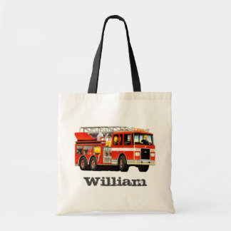Kid's Custom Name Fire Truck Party Tote Bag