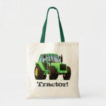Kid's Custom Name Green Farm Tractor Tote Bag