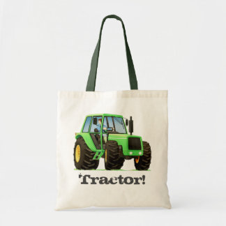 Kid's Custom Name Green Farm Tractor Tote Bag