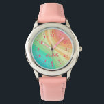 """Kids Custom Name Rainbow Watch<br><div class=""""desc"""">This watch is sure to make any little girl smile! Customize with her name across the rainbow designed face. Makes a great watch for anyone that loves rainbows,  pink,  and pastel colors.</div>"""