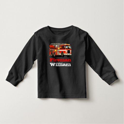 Kid 39 s custom name red fire truck tshirt zazzle for Custom fire t shirts