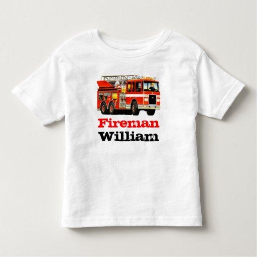 Kid 39 s custom name red fireman fire truck t shirt zazzle for Custom fire t shirts