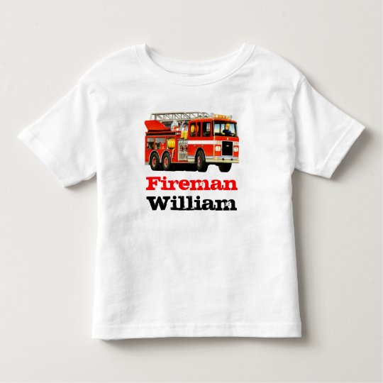 3b47e2869d4 Kid's Custom Name Red Fireman Fire Truck Toddler T-shirt | Zazzle.com