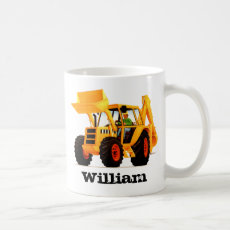 Kid's Custom Name Yellow Construction Digger Coffee Mug