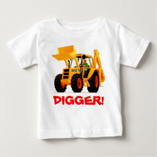 Kid's Custom Name Yellow Digger Baby T-Shirt