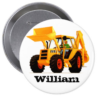 Kids Custom Name Yellow Digger Construction Party Pinback Button