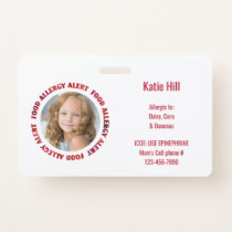 Kids Custom Photo Food Allergy Medical Alert Badge