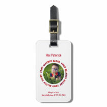 Kids Custom Photo Food Allergy Medical Alert Bag Tag