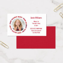 Kids Custom Photo Food Allergy Medical Alert Business Card